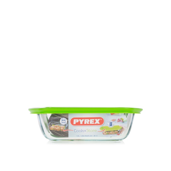 Pyrex cook & store rectangular dish with lid 1.1ltr