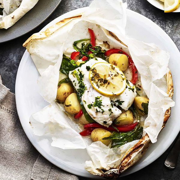 Baked cod with goats cheese