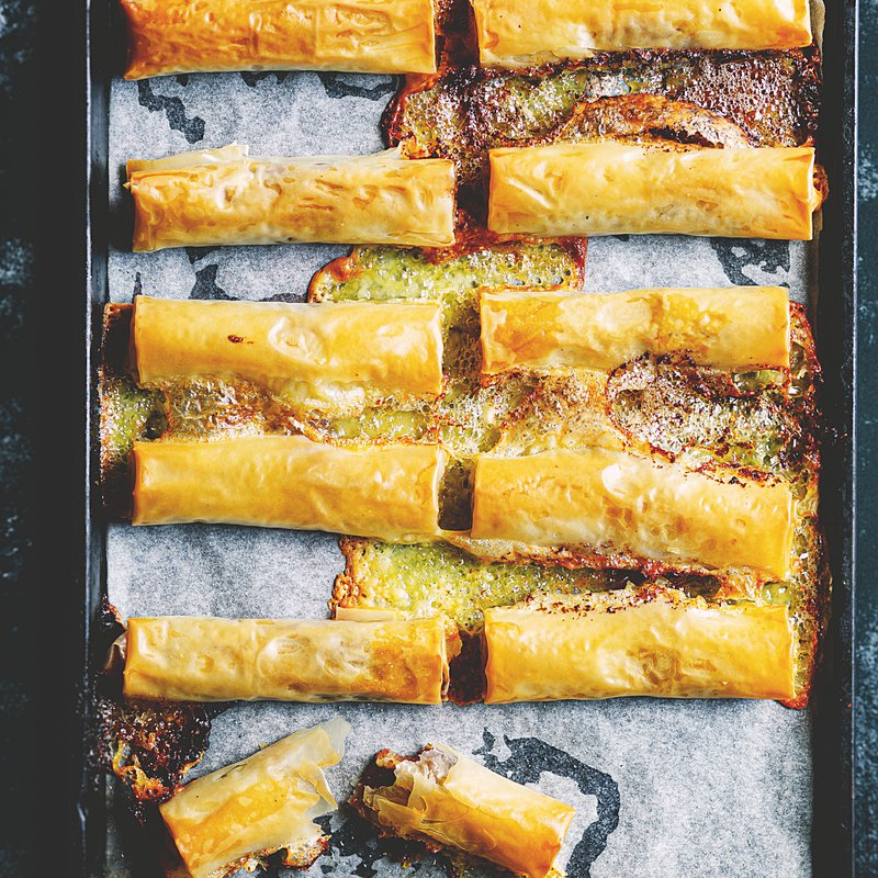 Brie and date baklava cigars