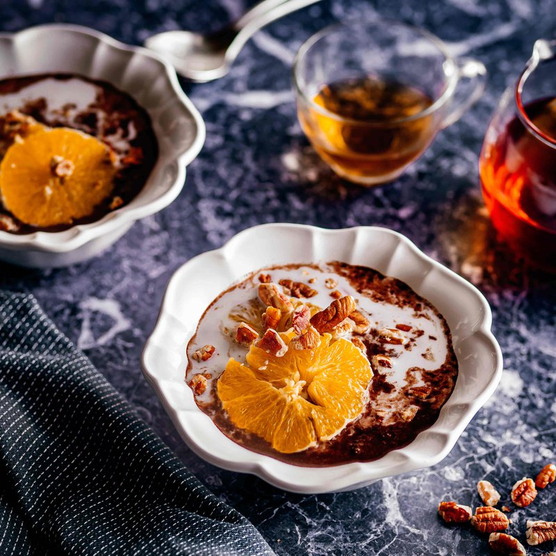 Chocolate and orange coconut porridge