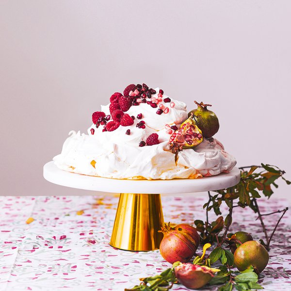 Raspberry, pomegranate and mascarpone pavlova