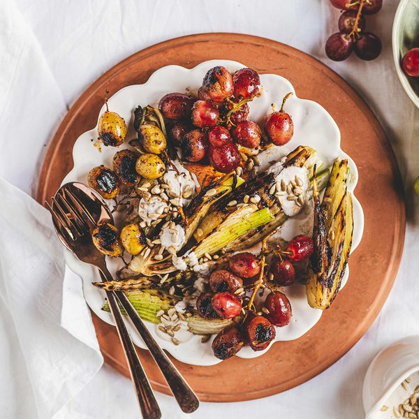 Dukkah grilled grape and fennel salad with sunflower seed dressing