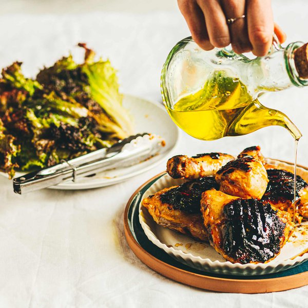 Grilled mango and lime chicken with grilled lollo rosso lettuce