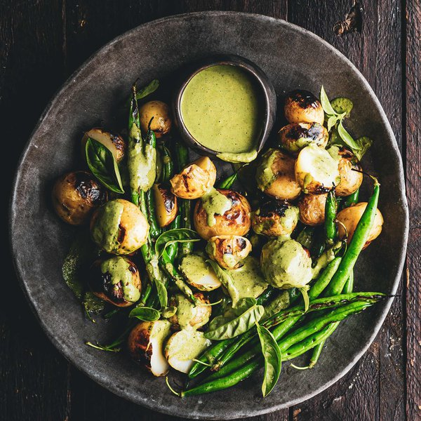 Grilled new potato and green bean salad with avo cream