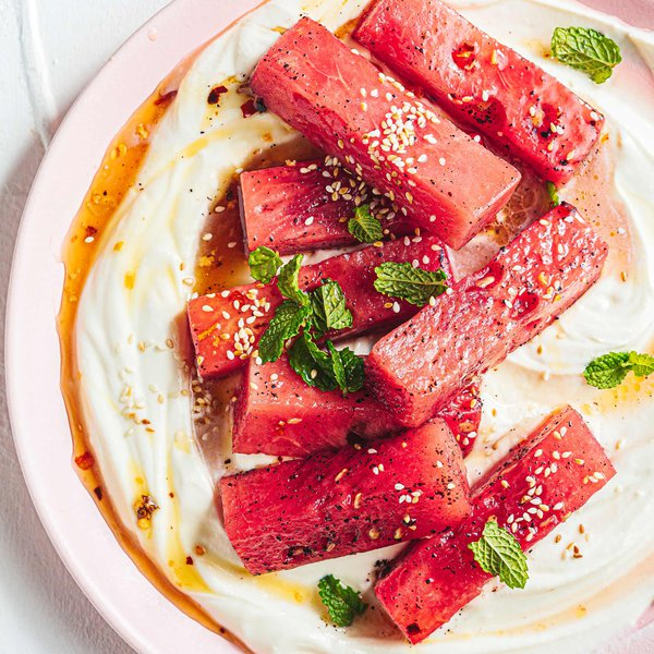 Marinated watermelon with whipped feta and herbs