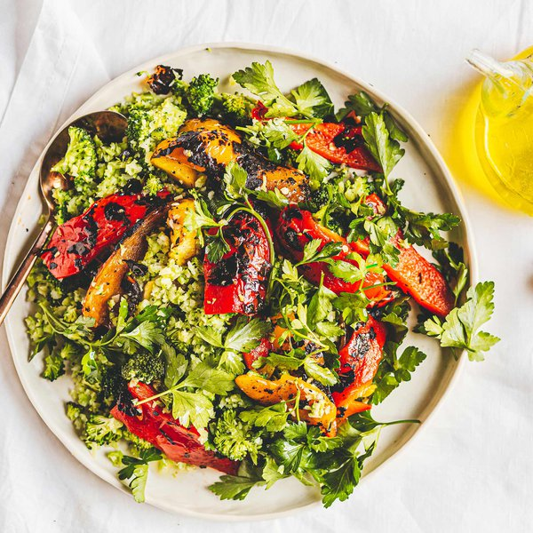 Mixed charred capsicum and broccoli tabbouleh