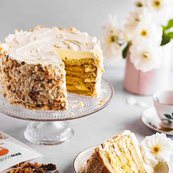 Passion fruit and coconut layer cake