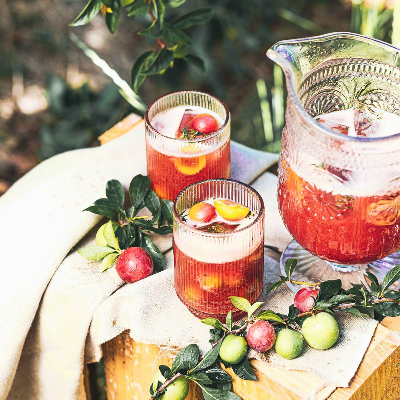 Pluot and thyme iced tea