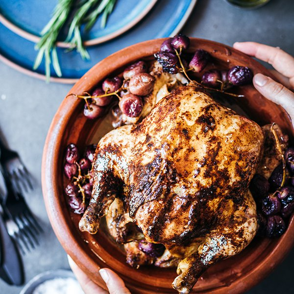 Rosemary cold-roast chicken with grapes