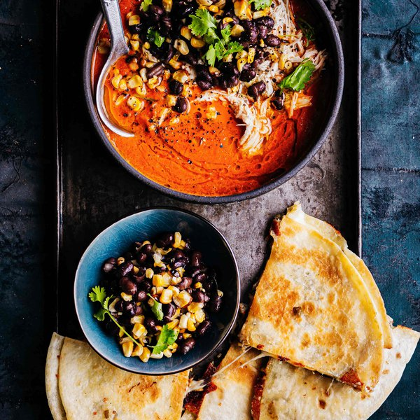 Roasted red capsicum soup with shredded chicken and cheesy quesadillas