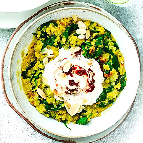 Super healthy spinach dhal with spicy Greek yoghurt